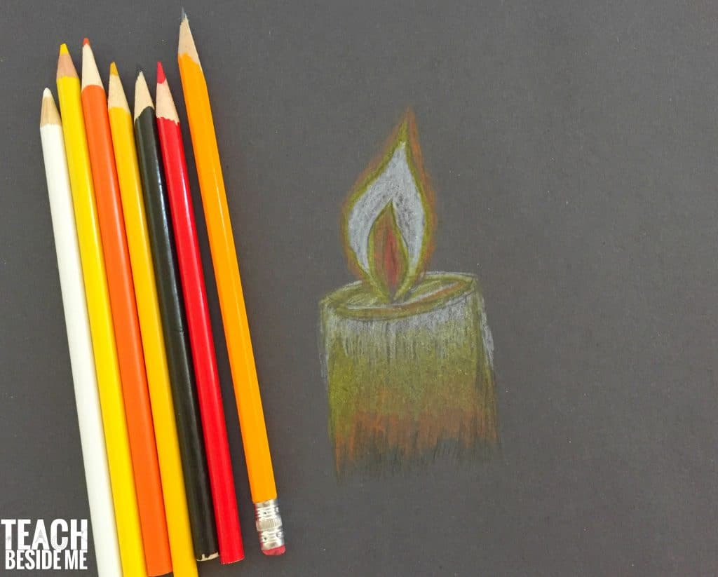 online art lesson with colored pencils