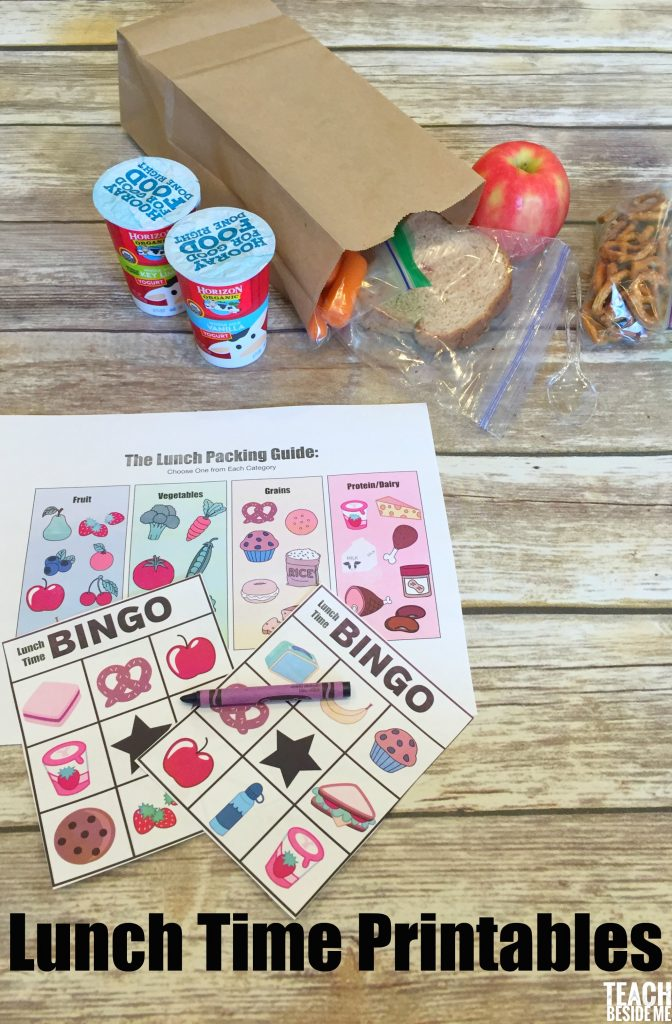 Lunch time printables- lunch time bingo & lunch packing guide