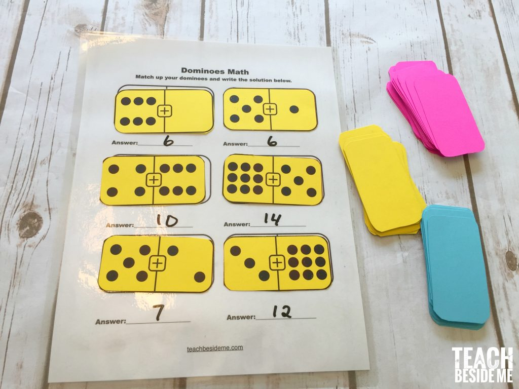 hands-on math- printable dominoes