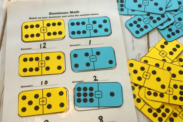 Printable Math Dominoes for Addition, Subtraction