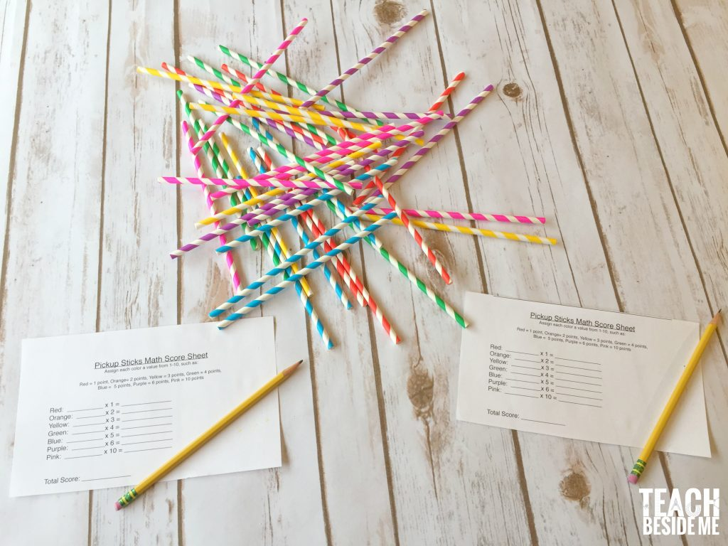 math play- pick-up sticks math game