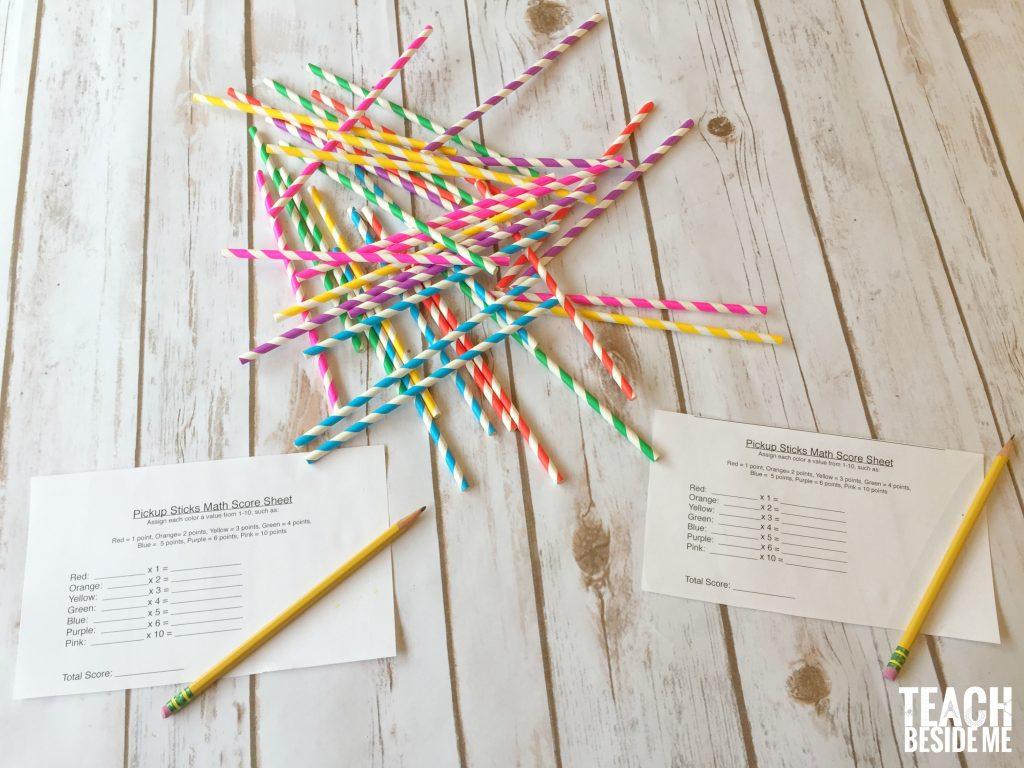math play- pick-up sticks math game