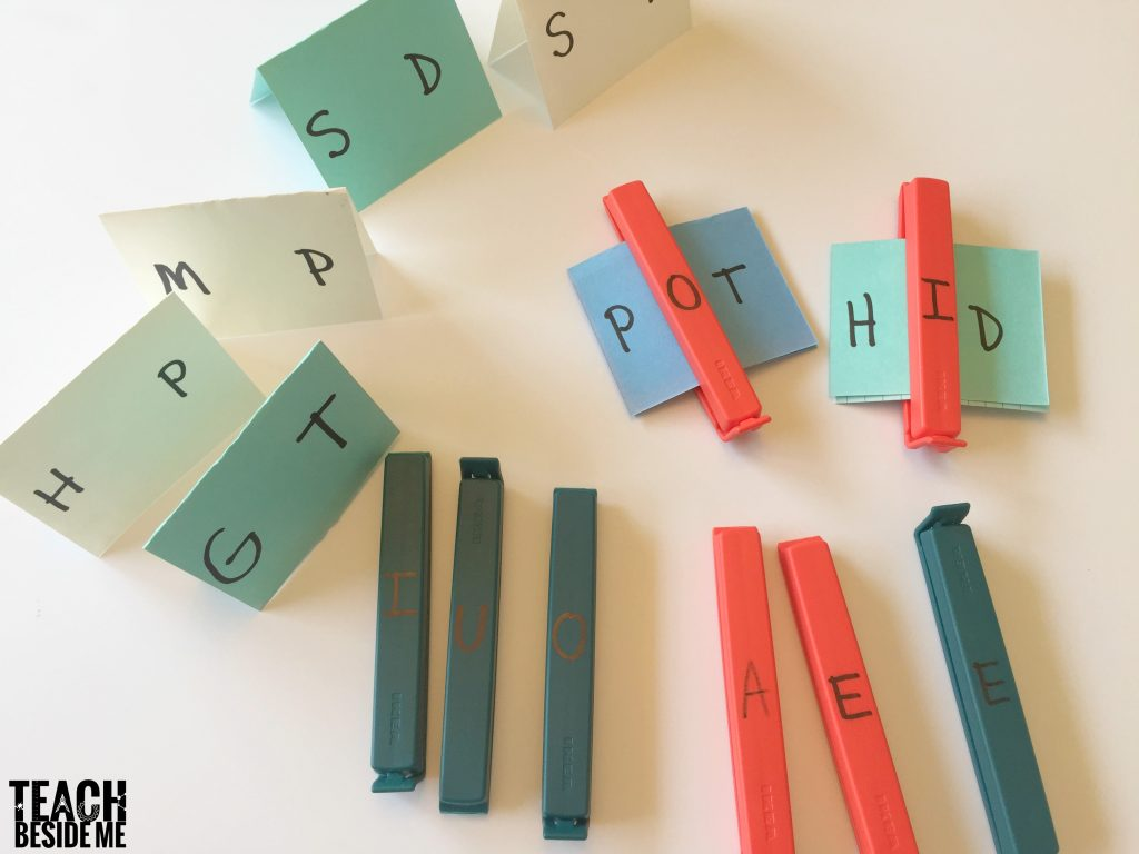 spelling game- word building with bag clips