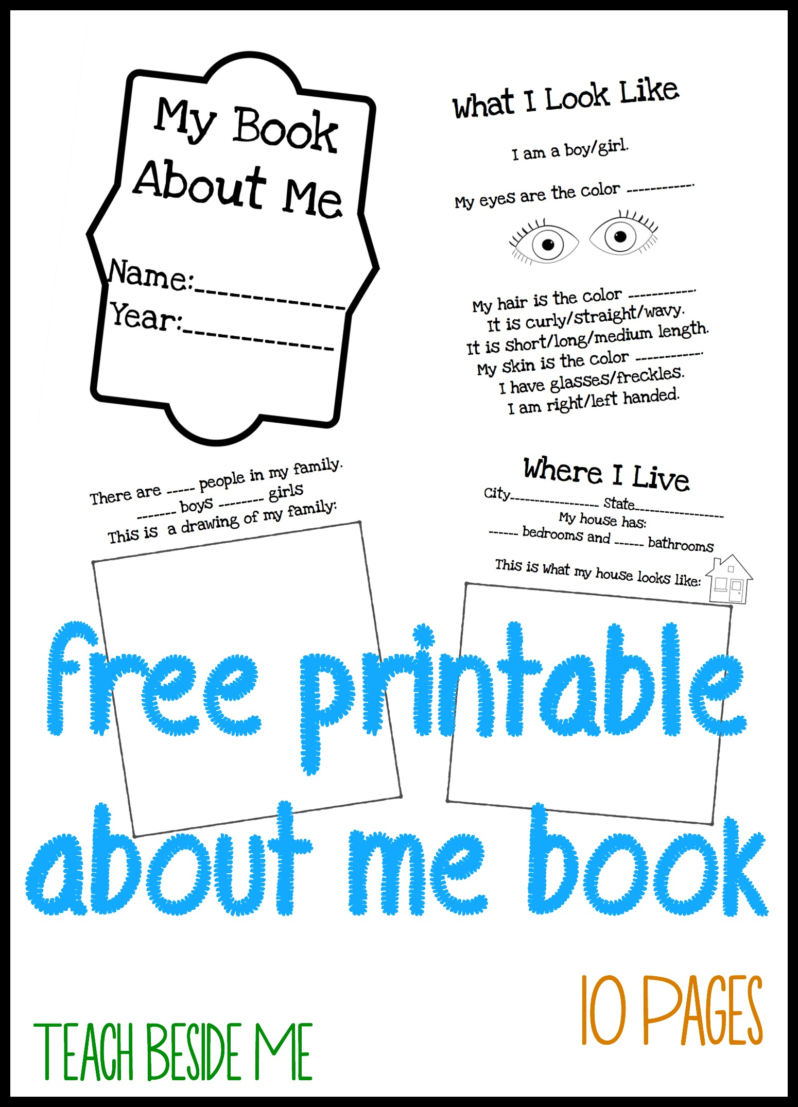 All About Me Book For Preschool Kids Teach Beside Me