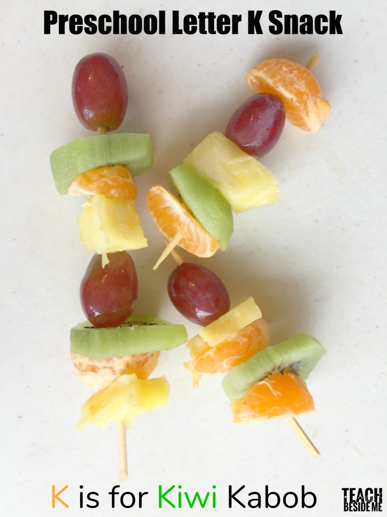 Preschool Letter K snack- K is for kiwi kabob