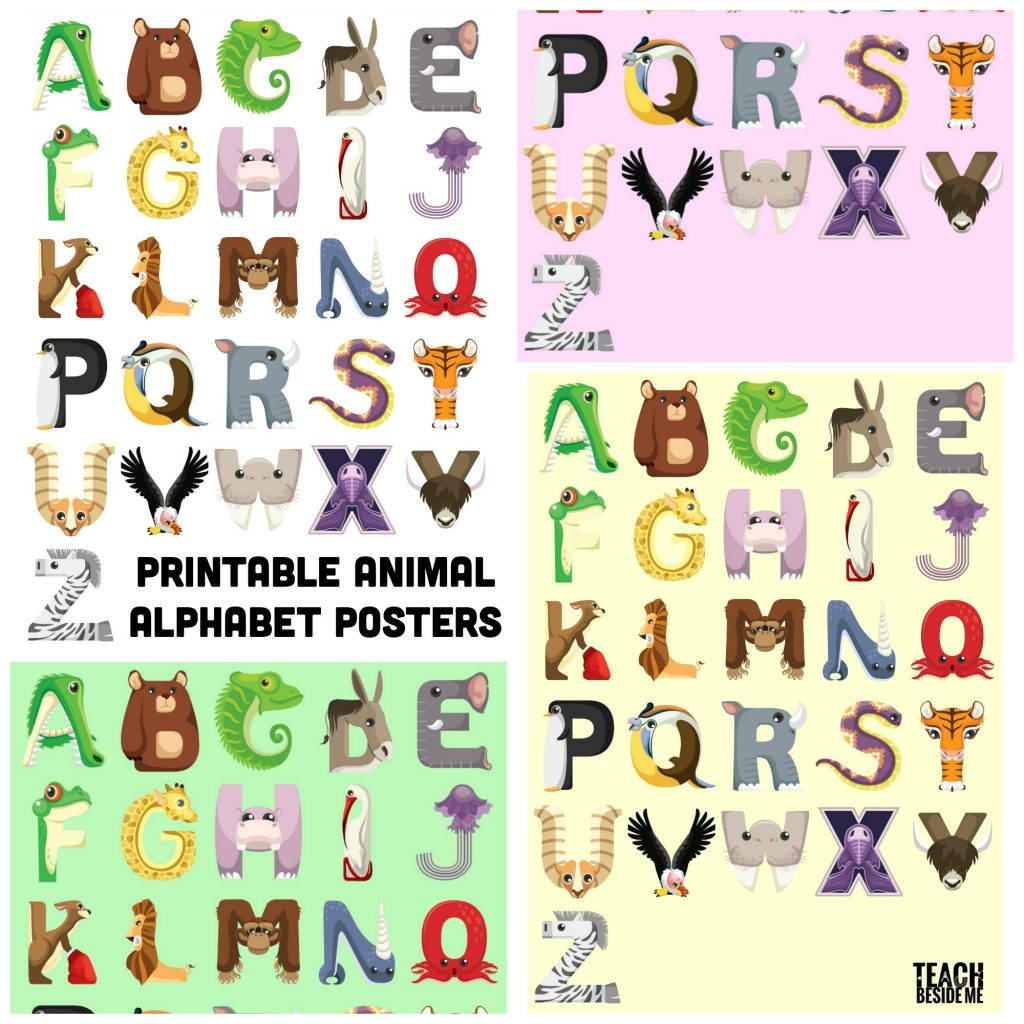 animal alphabet posters for kids