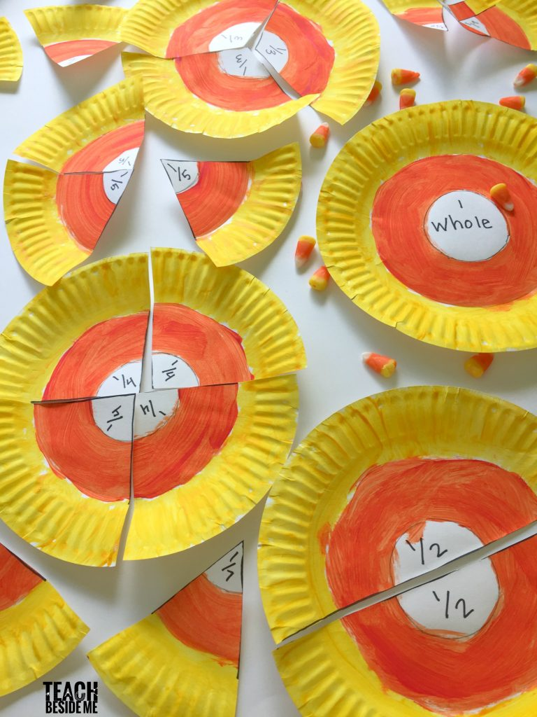 Halloween Math- candy corn fractions with paper plates