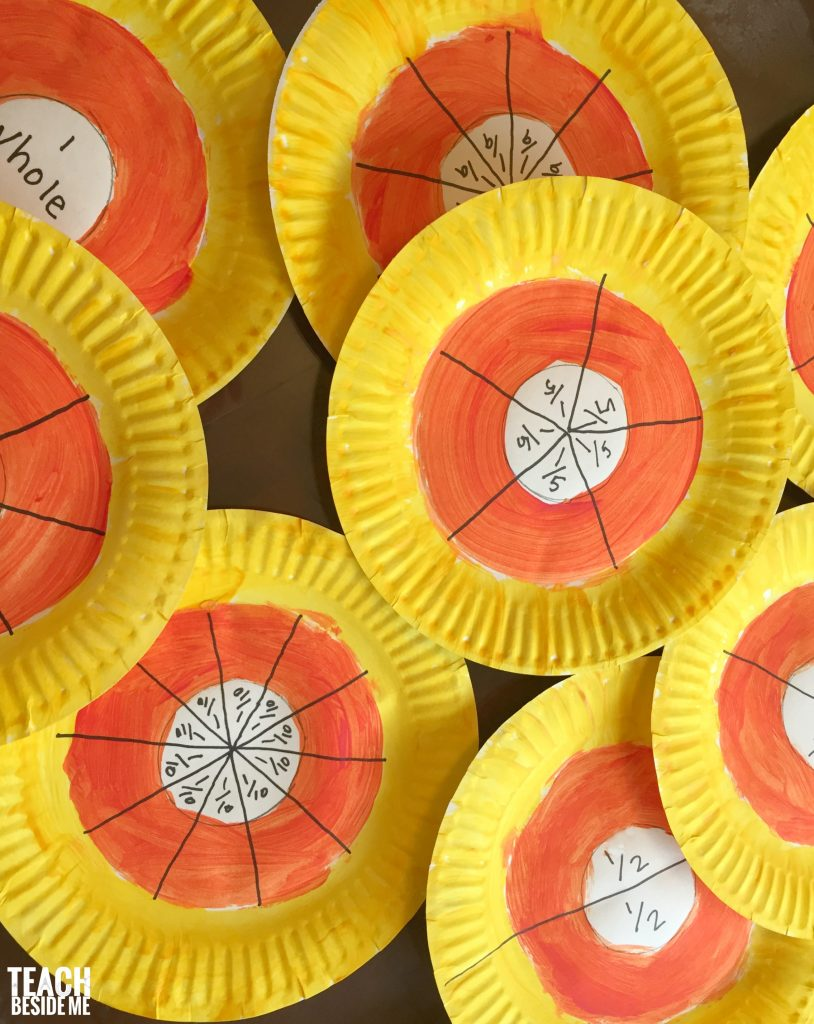 halloween math candy corn paper plate fractions