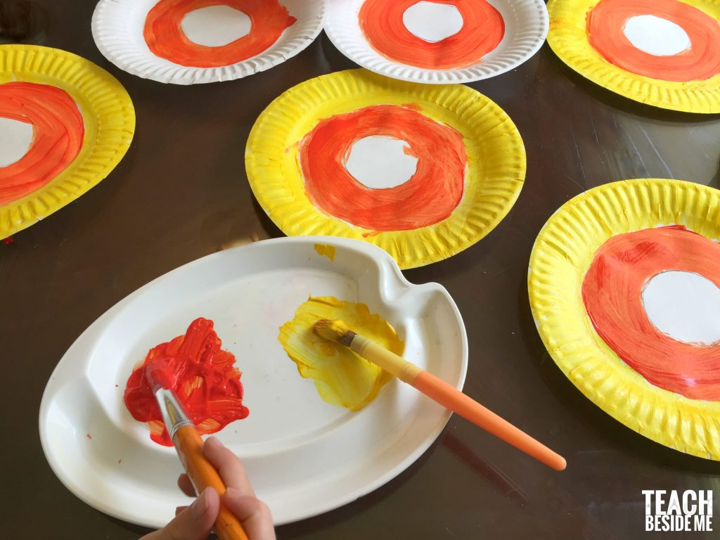 painting paper plate candy corn fractions