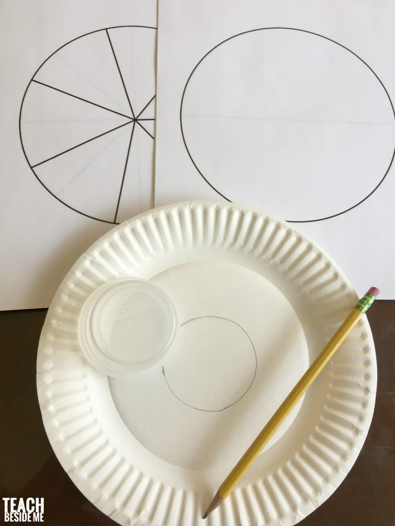 paper plate candy corn fractions- trace pattern