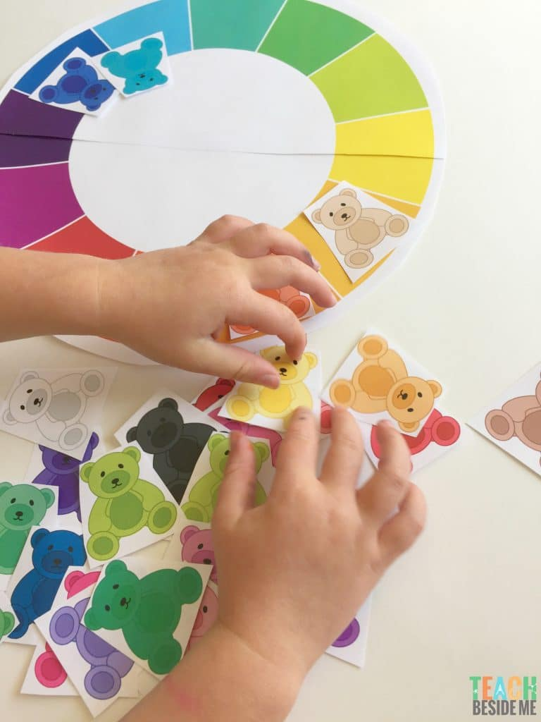 teddy bear color sorting pattern activity