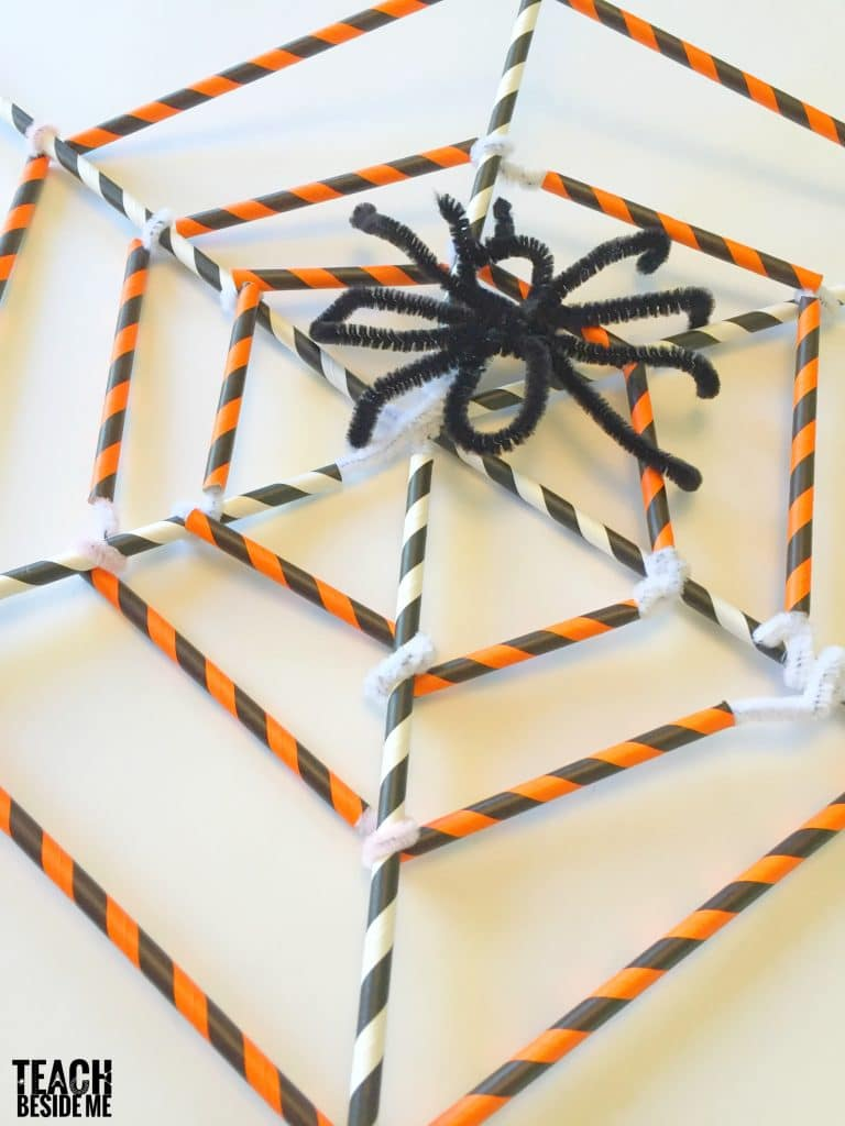 Spider Web from Straws and Pipe Cleaners