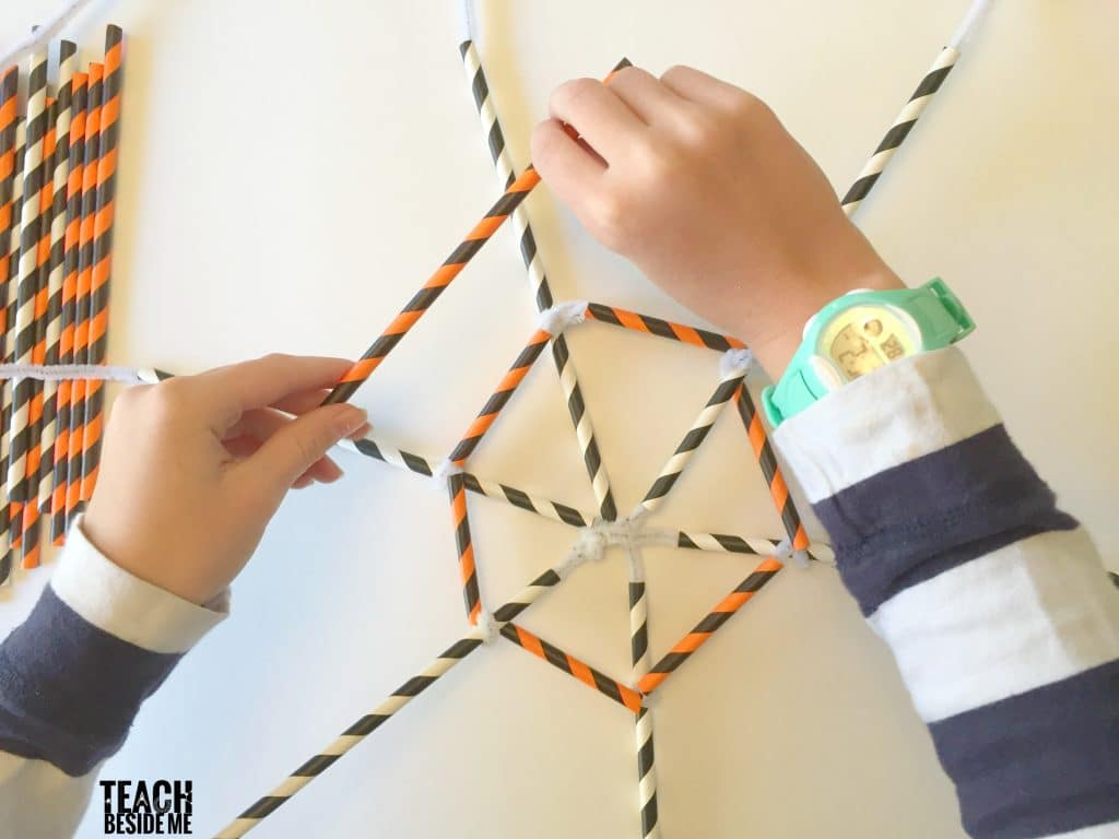 build a straw and pipe cleaner spider web