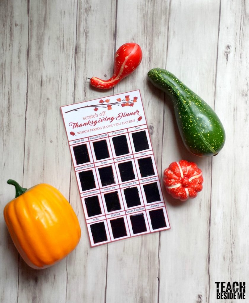 Thanksgiving Dinner Scratch Off Cards