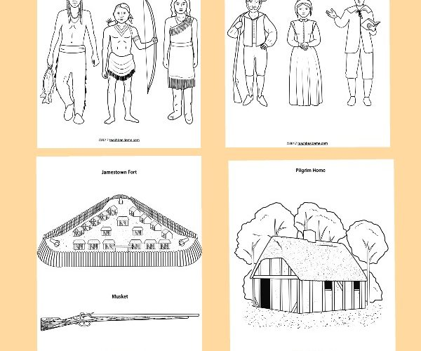 Early American Society Coloring Page | Coloring pages, People ... | 500x600