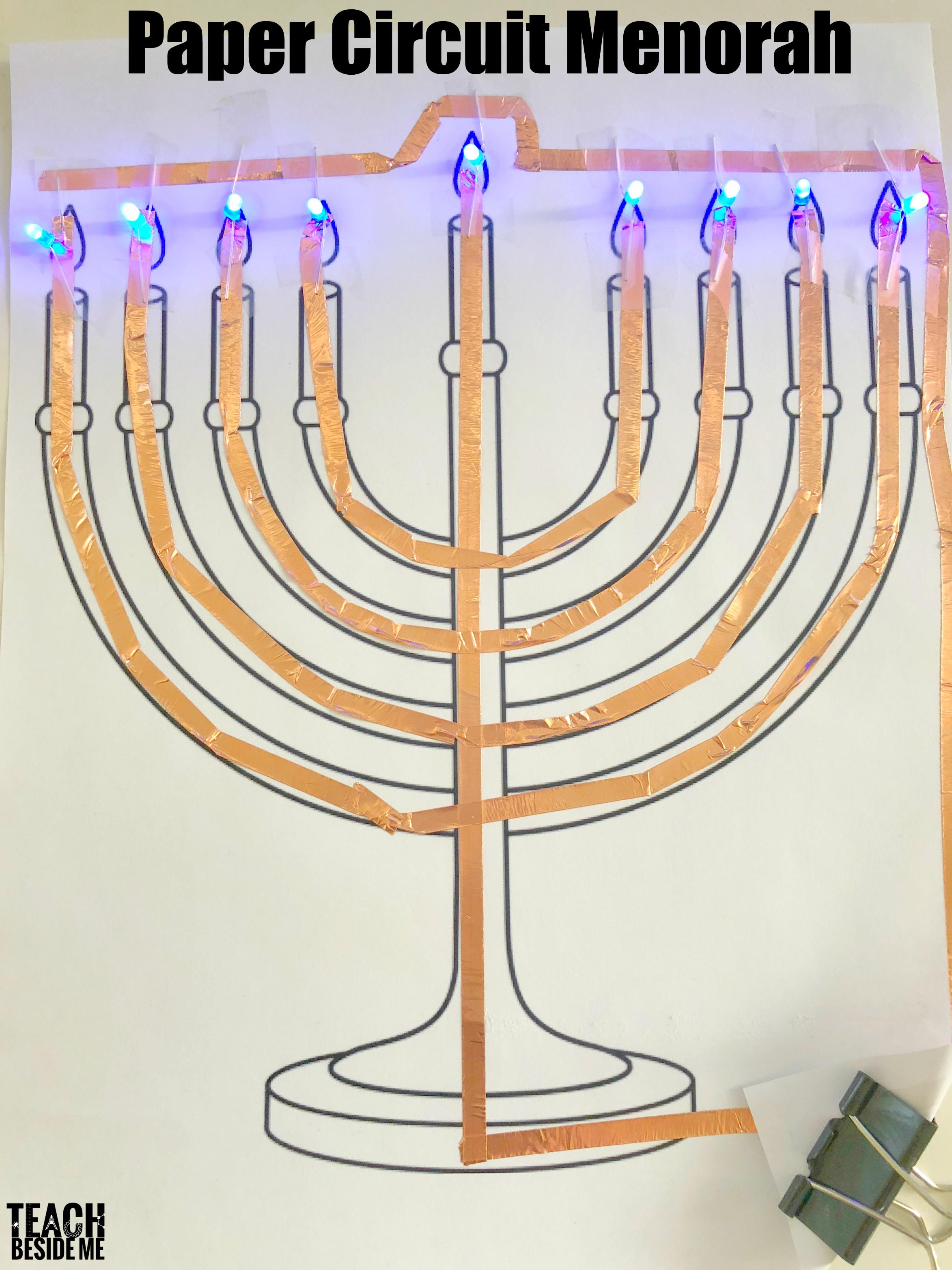 Hanukkah STEM: Paper Circuit Menorah - Teach Beside Me