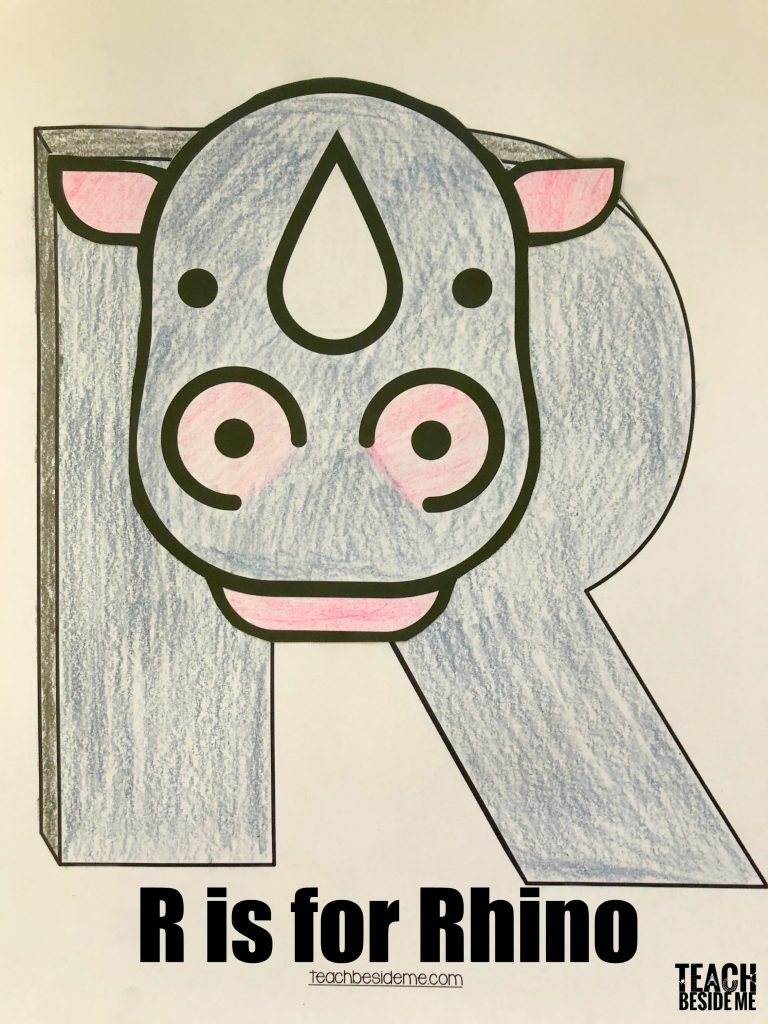 Preschool letter r craft- R is for rhino