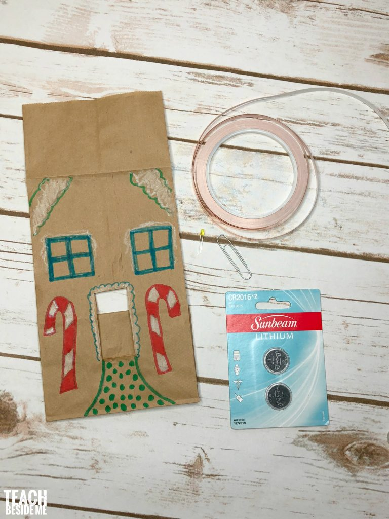 paper bag gingerbread house paper circuits 2