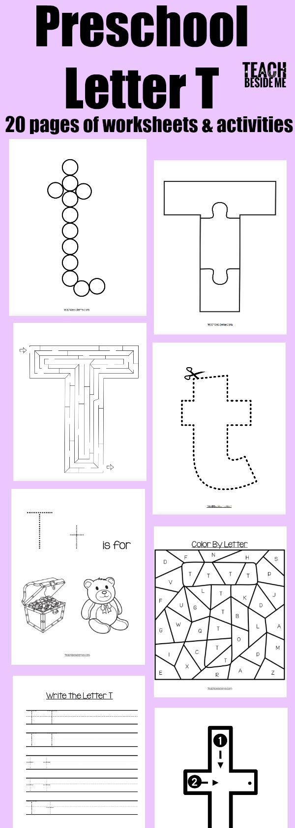 preschool letter T worksheets and activities