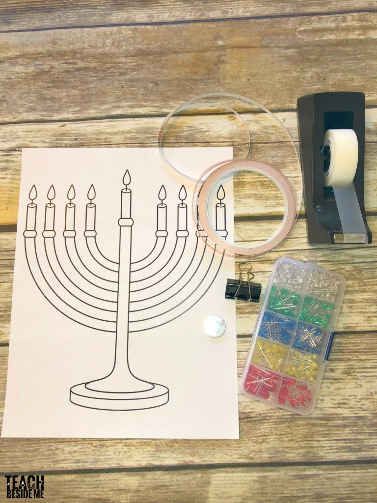 supplies for paper circuit menorah