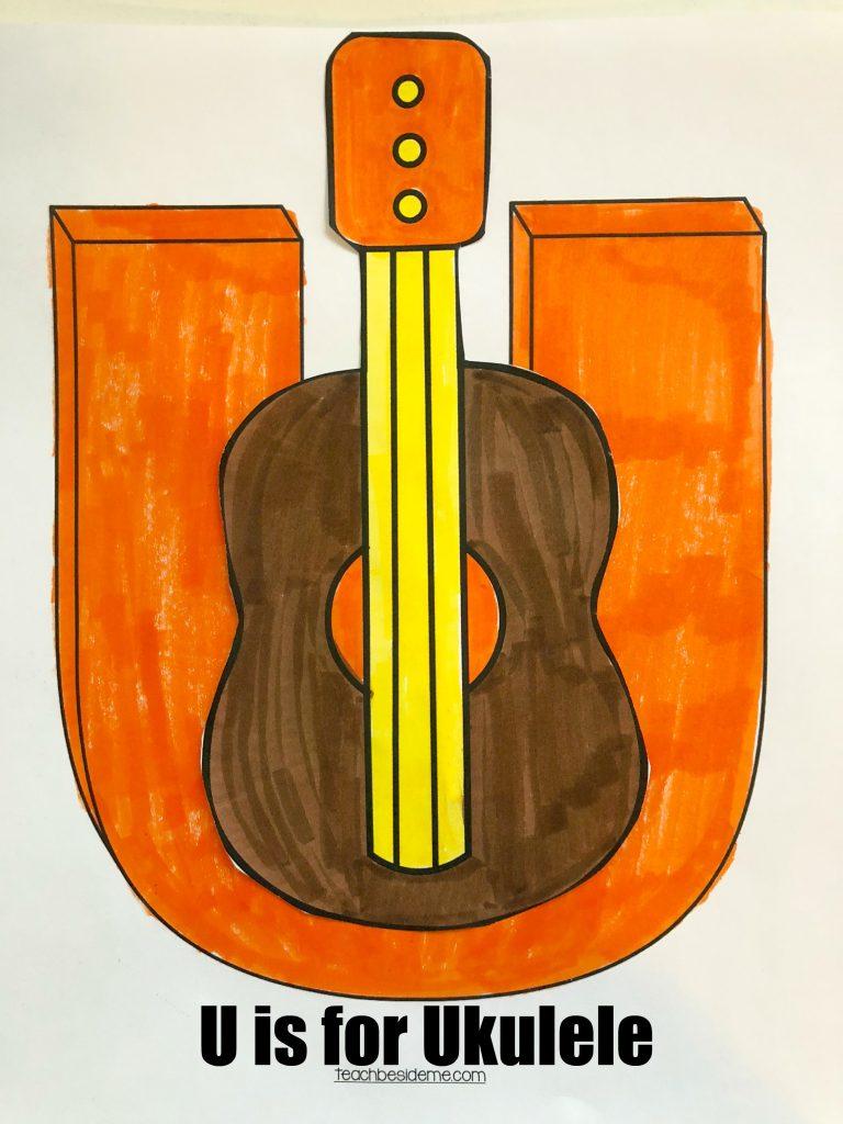 u is for ukulele- preschool letter u craft