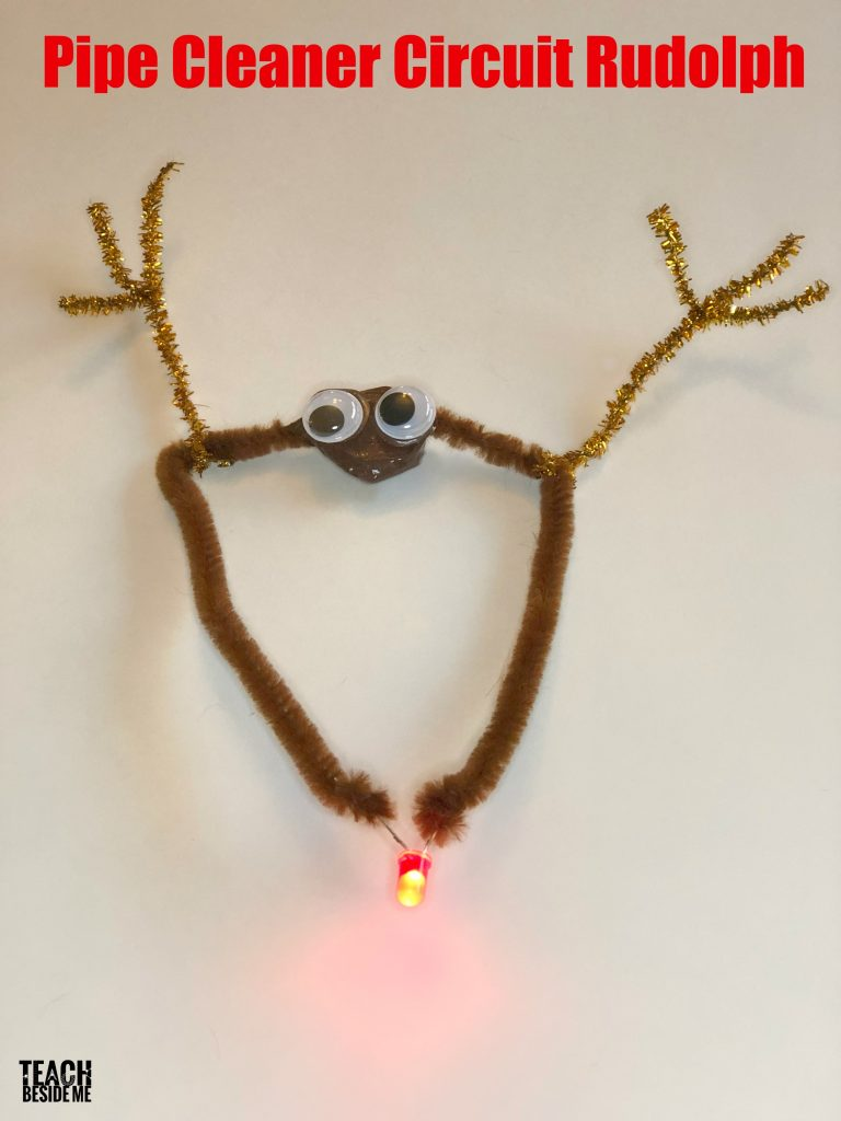 Christmas Stem Rudolph Pipe Cleaner Circuit Teach Beside Me How Do You Make A Today I Want To Show Really Easy Rudolphs Nose Lights Up And It Is Enough For Kids On