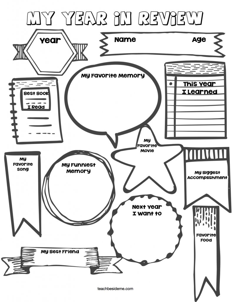 year in review new year printables for kids