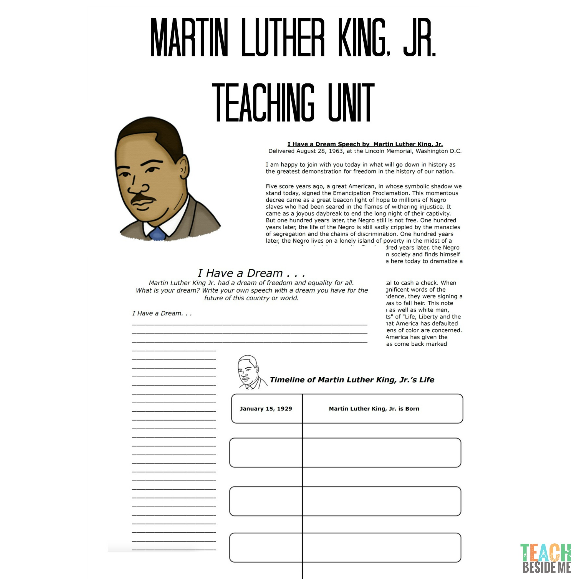 Martin Luther King Jr Teaching Unit Teach Beside Me