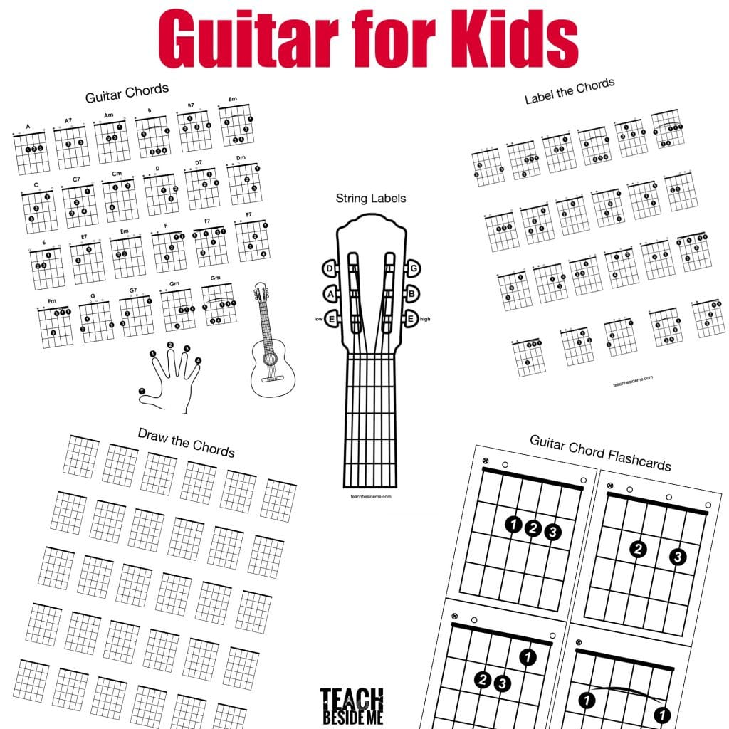 image regarding Printable Guitar Chords Chart identify Printable Guitar Chord Chart for Little ones Train Beside Me