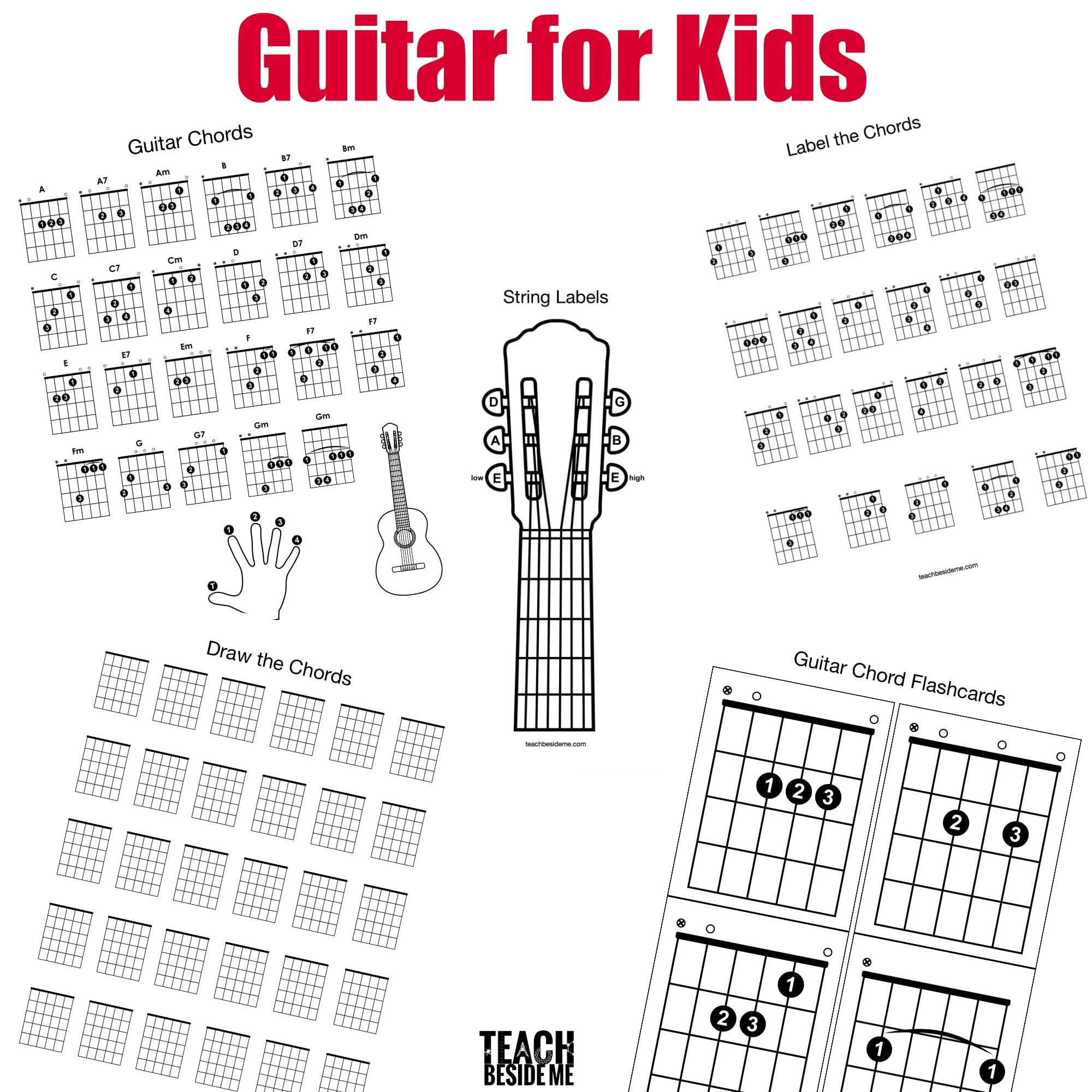 Guitar Chords For Kids Teach Beside Me