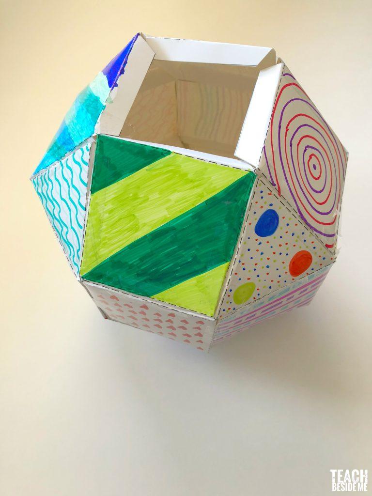 3d shape template rhombicuboctahedron teach beside me