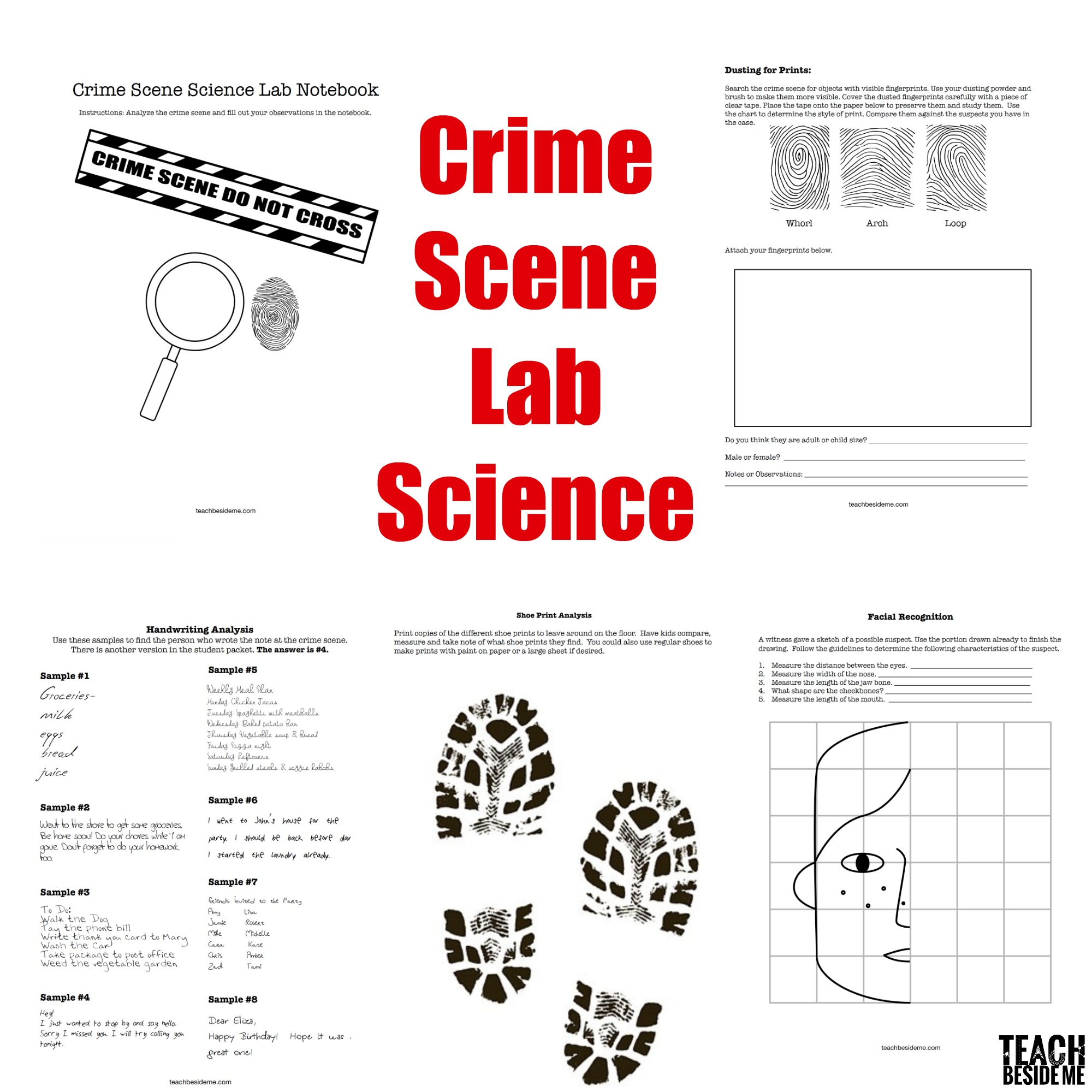 Crime scene lab science printable pack