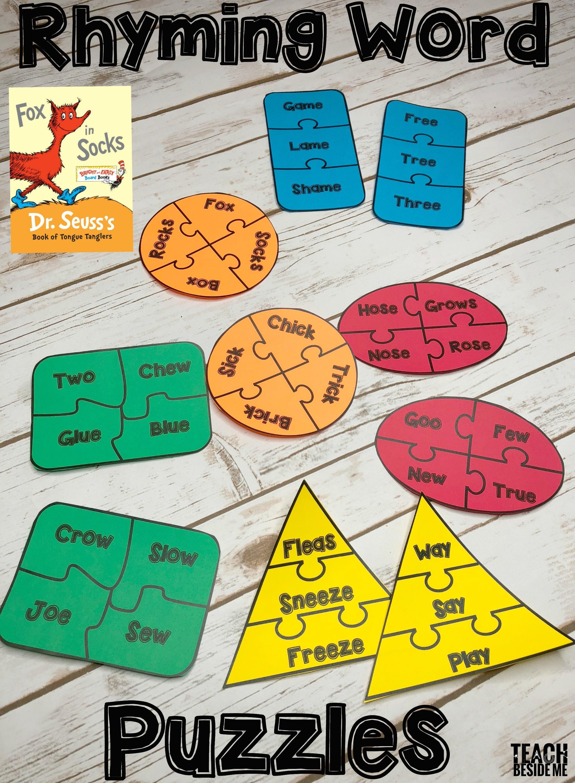 fox in socks rhyming word puzzles teach beside me