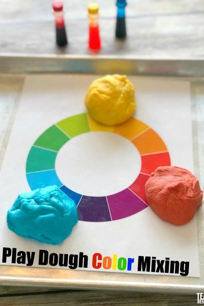 Rainbow Play Dough Color Mixing