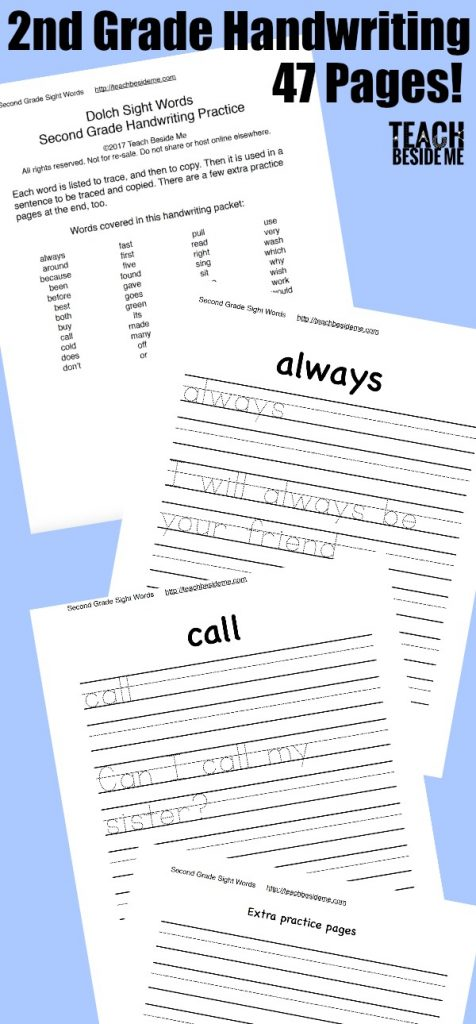 Second Grade Sight Word Handwriting Pages Teach Beside Me