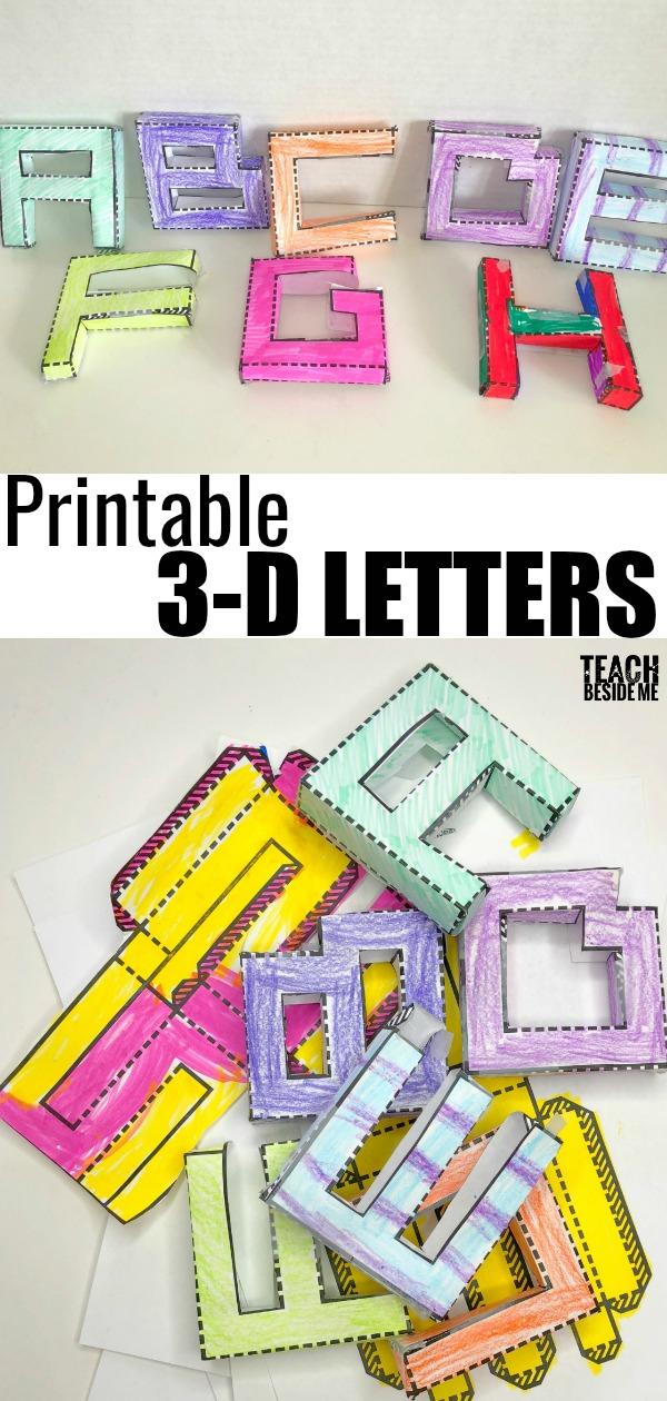 Printable 3D Letters Teach Beside Me