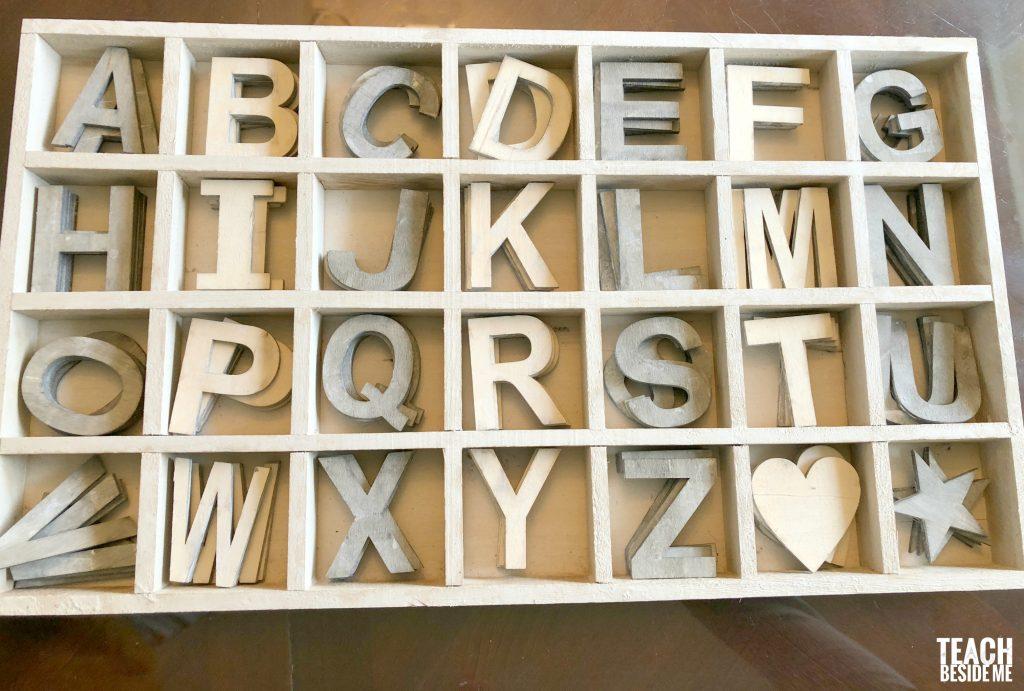 wooden chalkboard letters