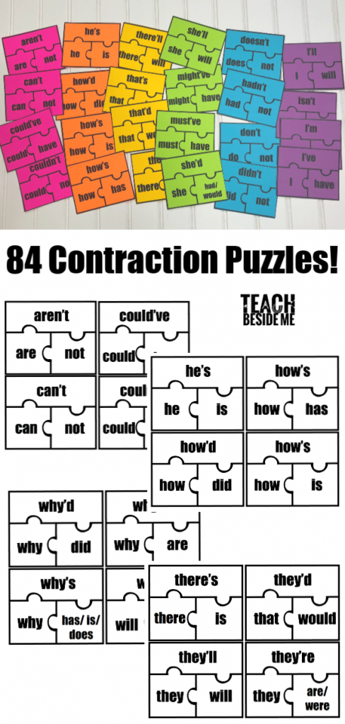Printable Grammar Contraction Puzzles