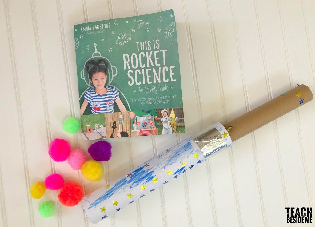 cardboard tube rocket blaster stem project for kids
