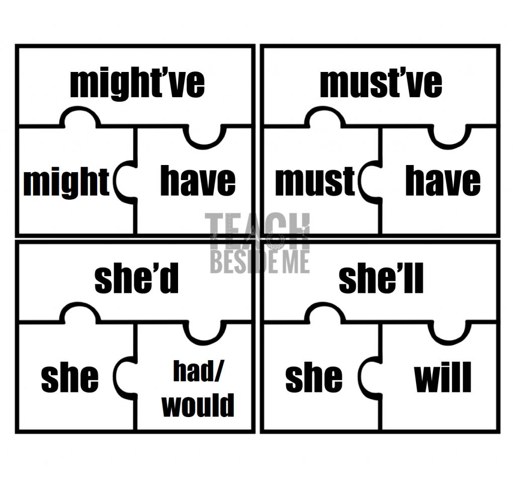 contraction puzzles- grammar lesson