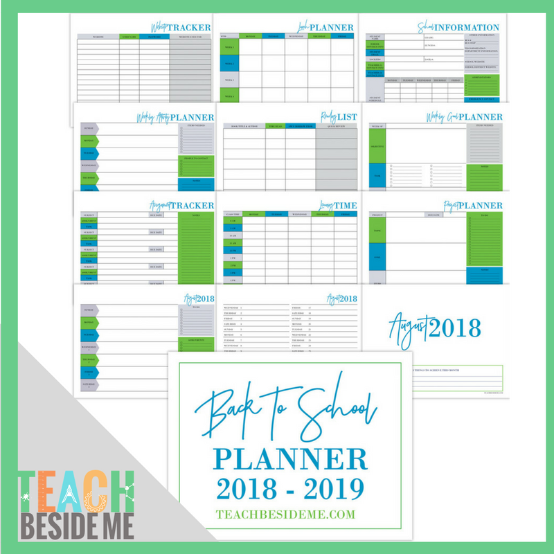 Back to School Planner 2018-2019