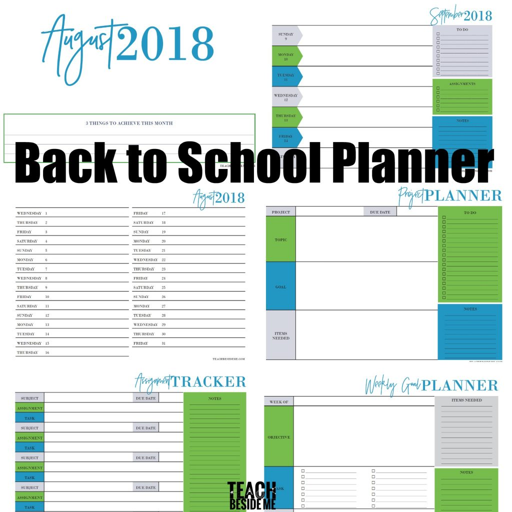 Back to school planner for students