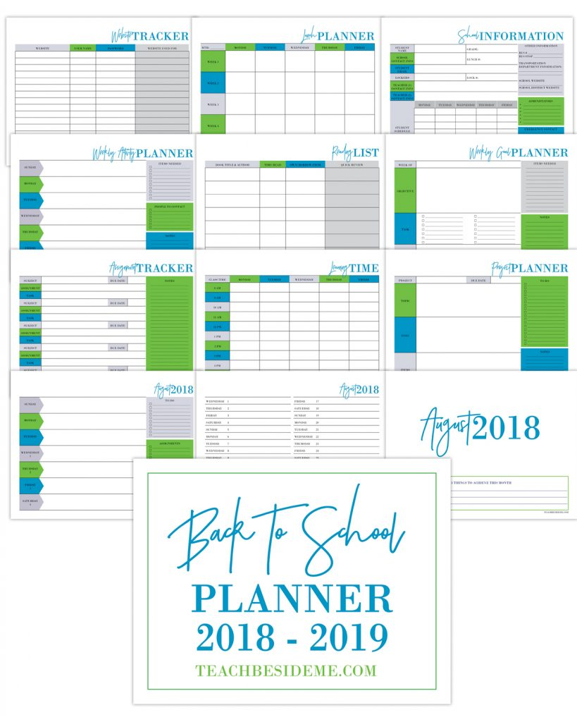 Back To School Planner 2018 2019 Teach Beside Me