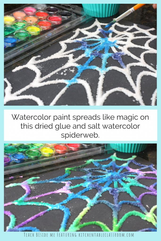 painted salt and glue spiderweb craft