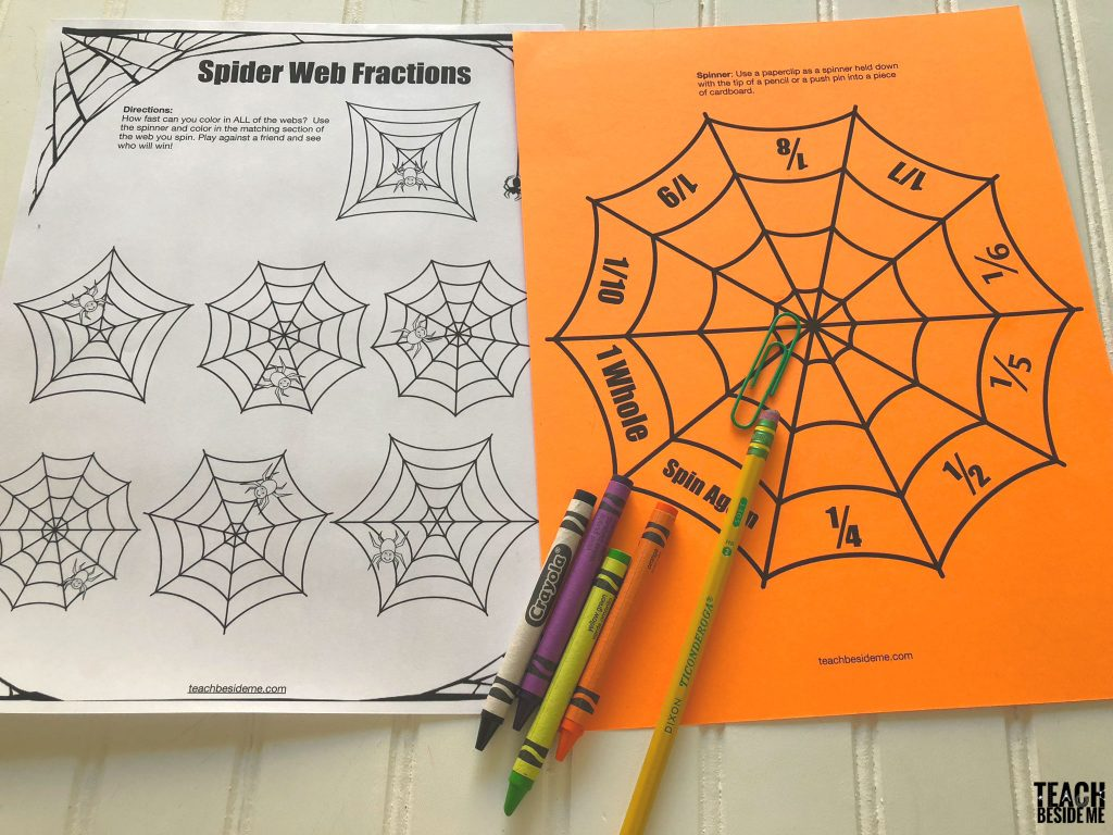 halloween math fraction game
