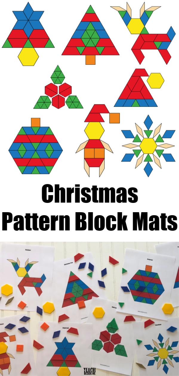 Christmas pattern block shape mats