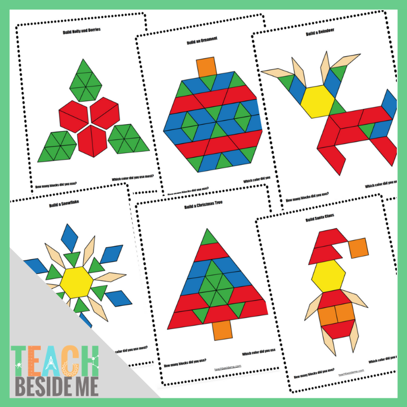 photo about Printable Pattern Blocks referred to as Xmas Behavior Block Mats