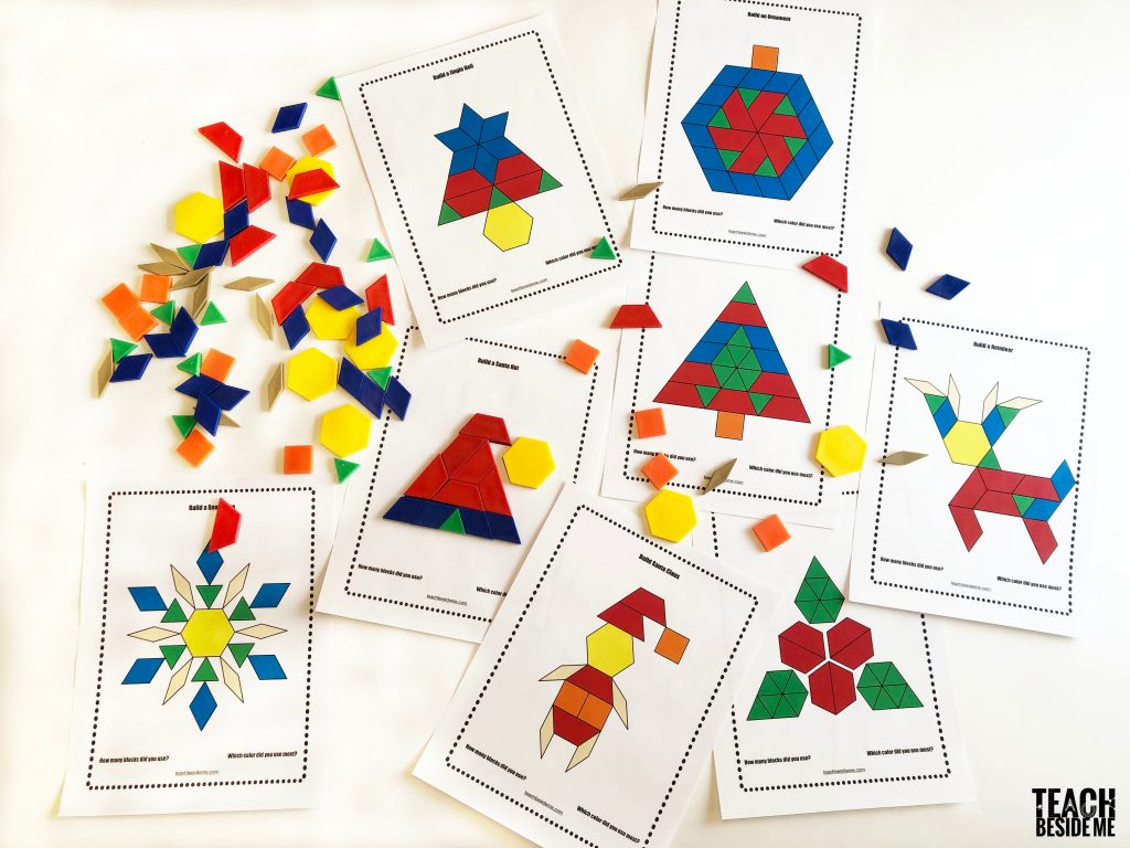 image about Printable Pattern Block Templates referred to as Xmas Routine Block Templates Practice Beside Me