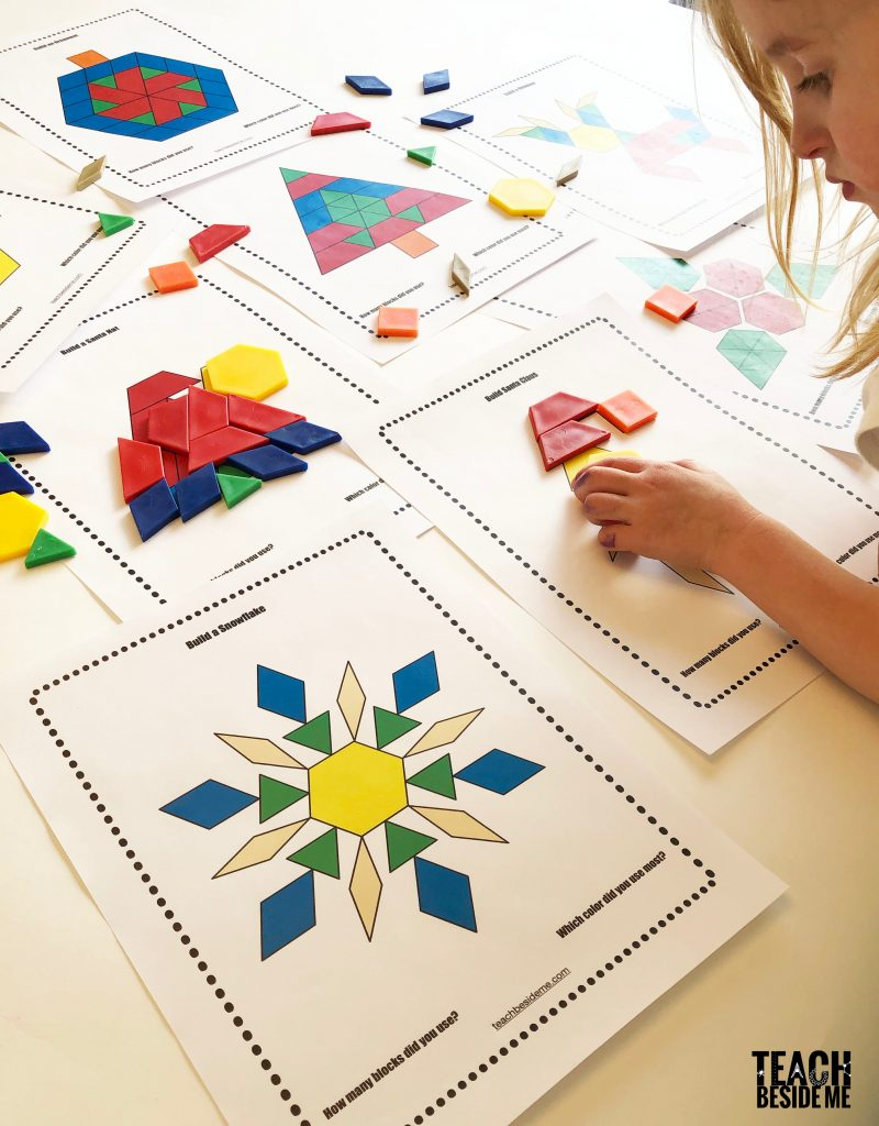 photograph regarding Printable Pattern Blocks named Xmas Practice Block Templates Train Beside Me