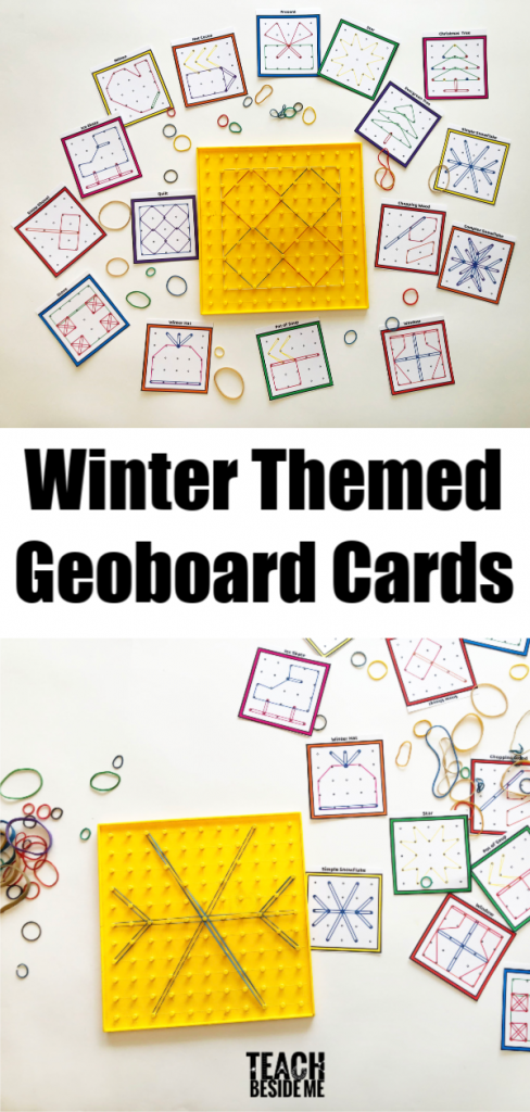 Winter Themed Geoboard Printable Cards